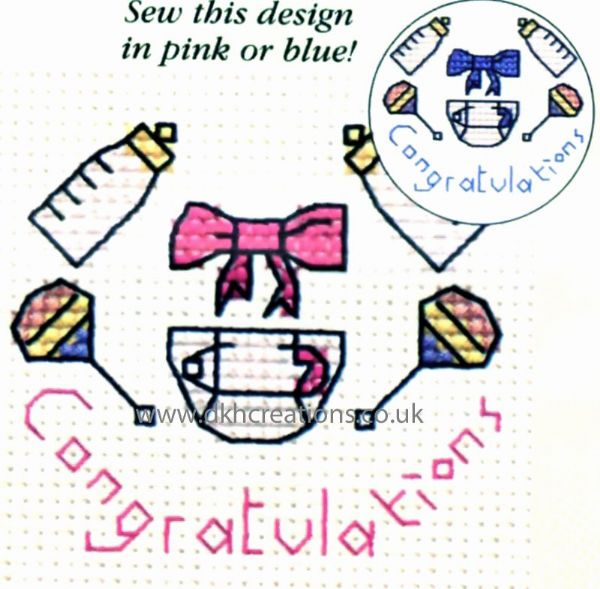 Congratulations Baby Card Cross Stitch Kit